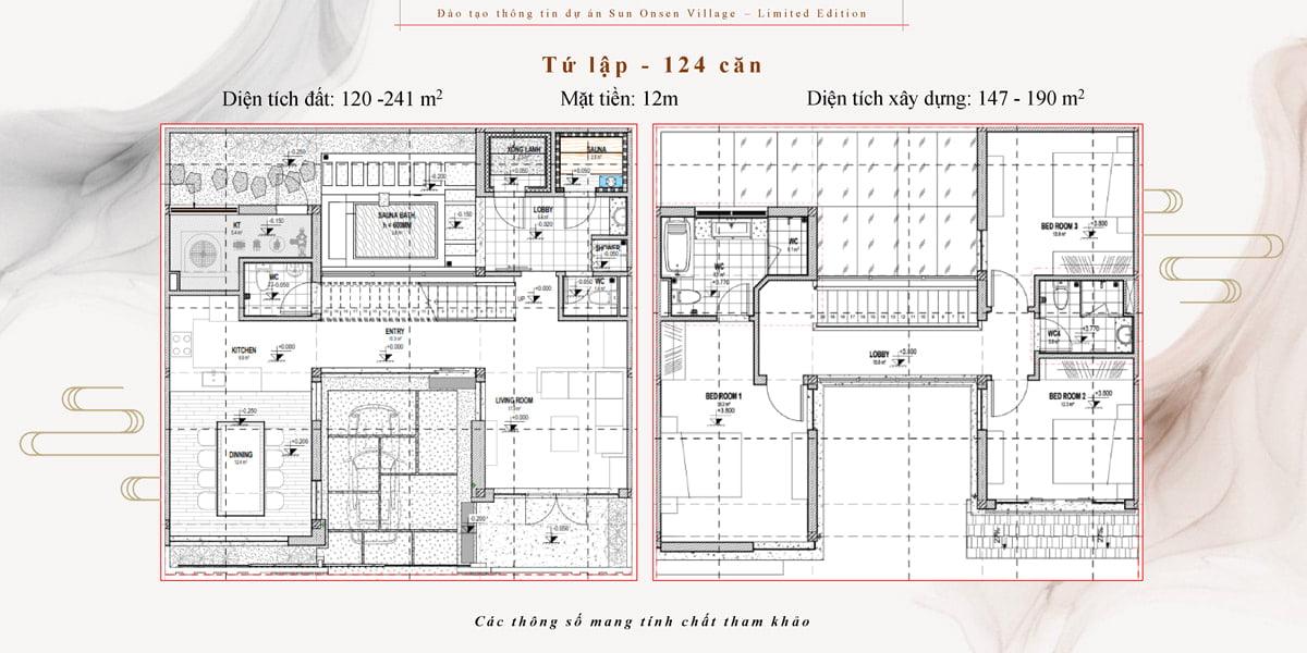 thiết kế biệt thự tứ lập sun onsen village quang hanh