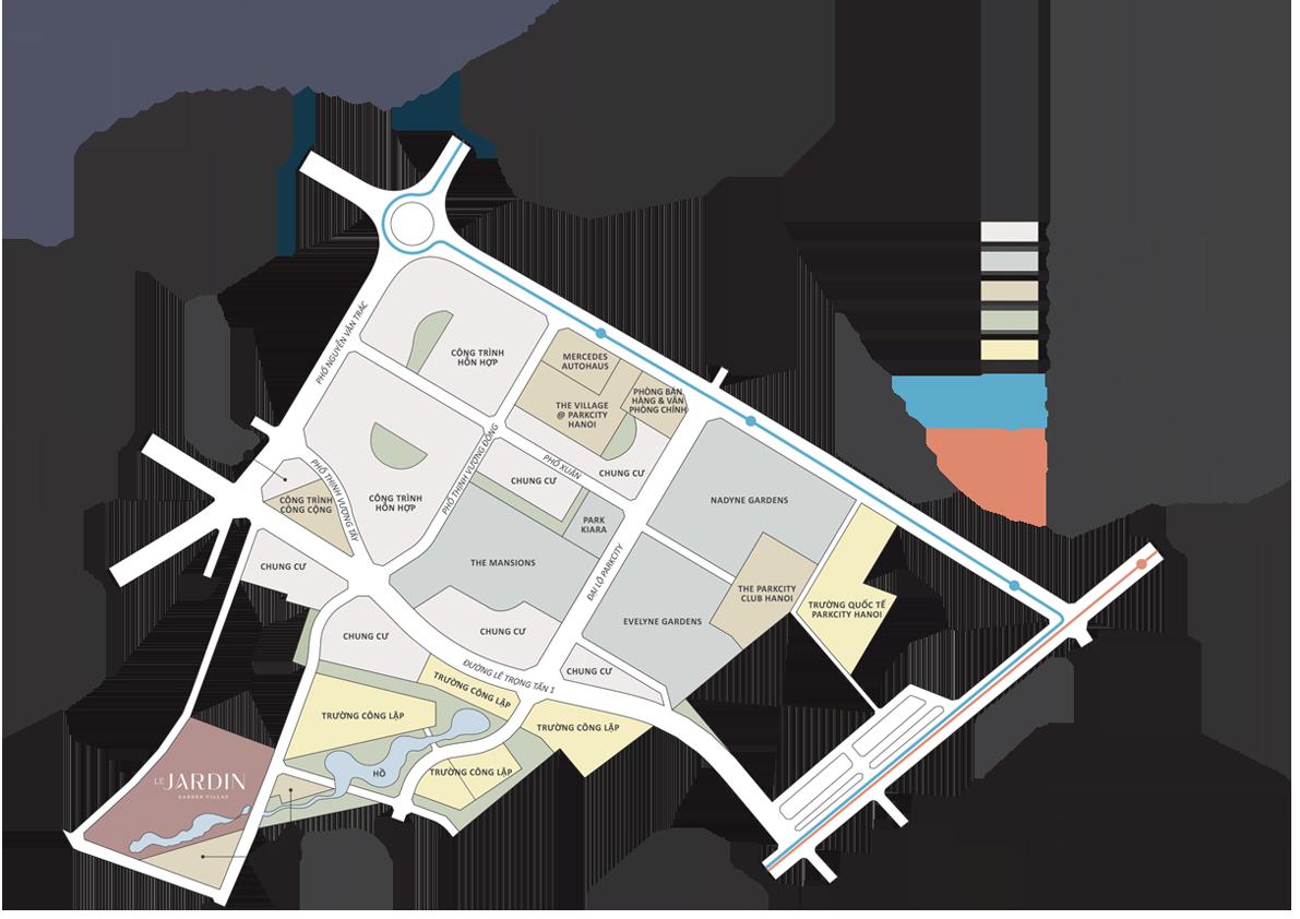 vị trí dự án le jardin garden villas parkcity hanoi