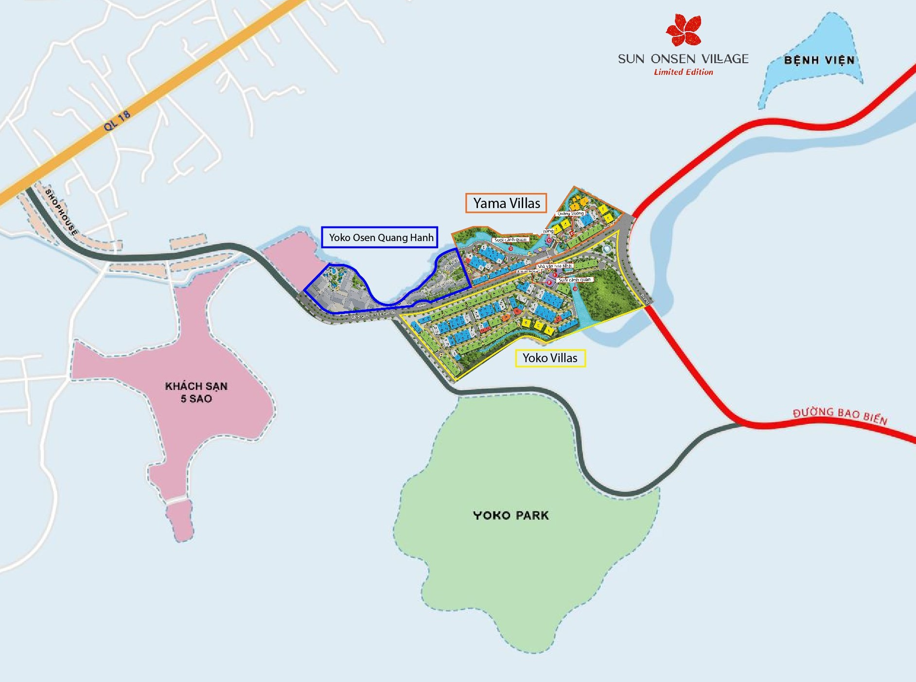 vị trí dự án sun onsen village quang hanh