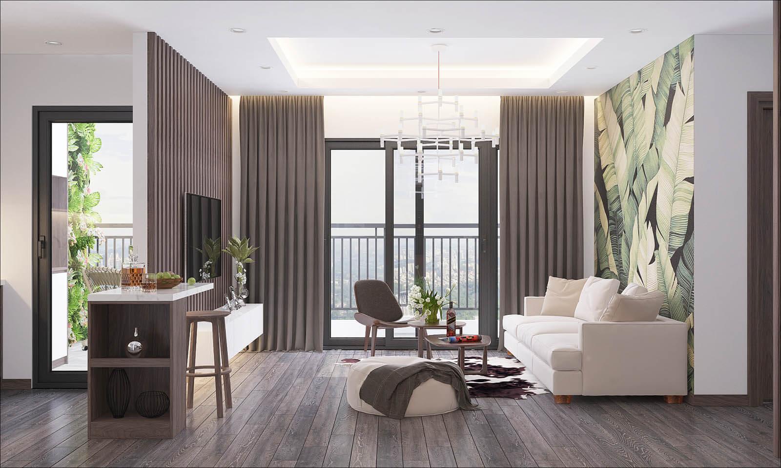 phòng khách căn hộ eco smart city