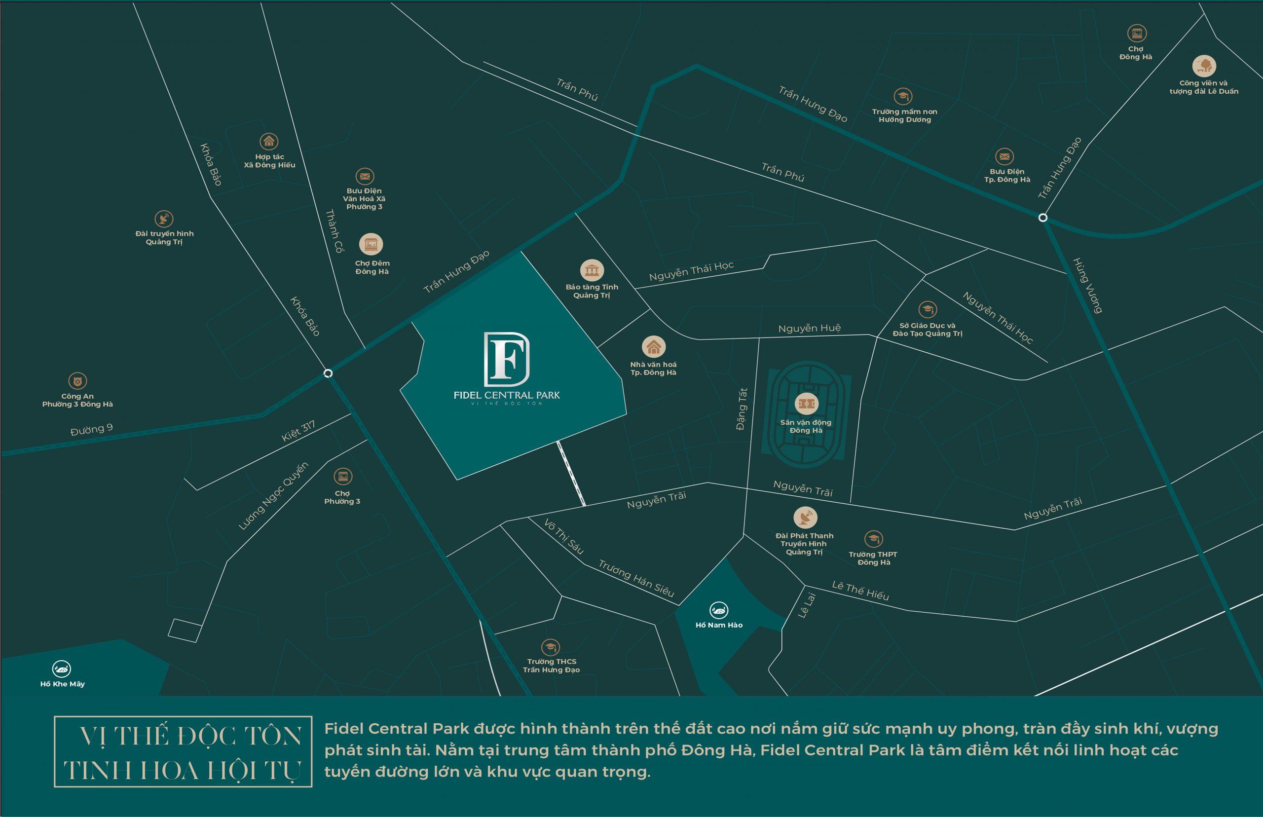 vị trí dự án fidel central park đông hà quảng trị
