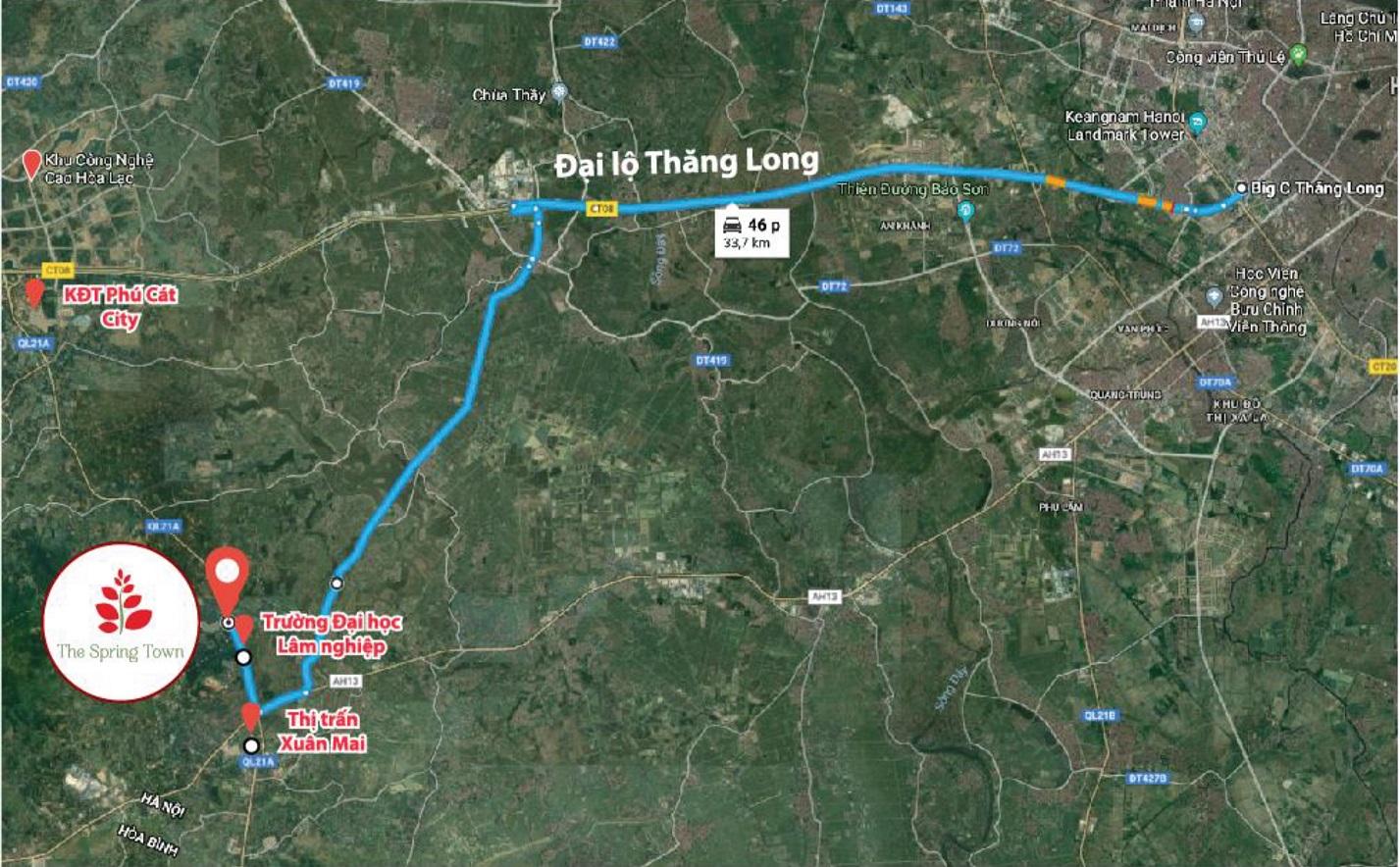 vị trí dự án the spring town xuân mai