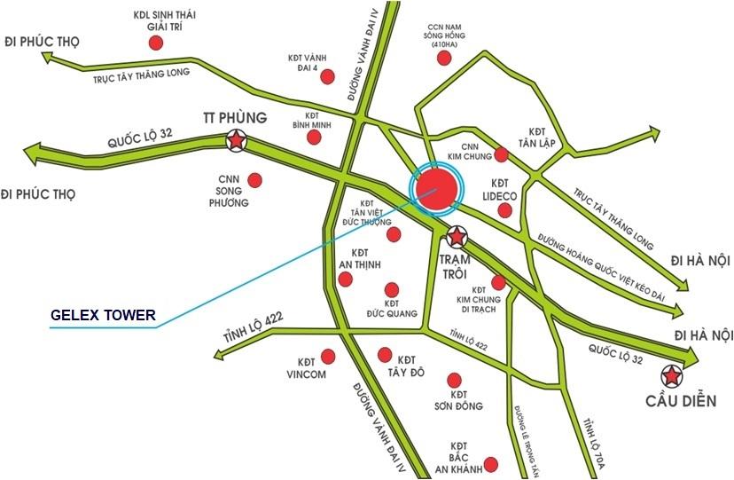 vị trí dự án gelex tower trạm trôi