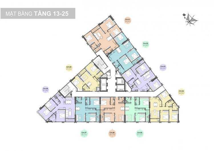 mặt bằng tầng 13-25 chung cư trinity tower 145 hồ mễ trì