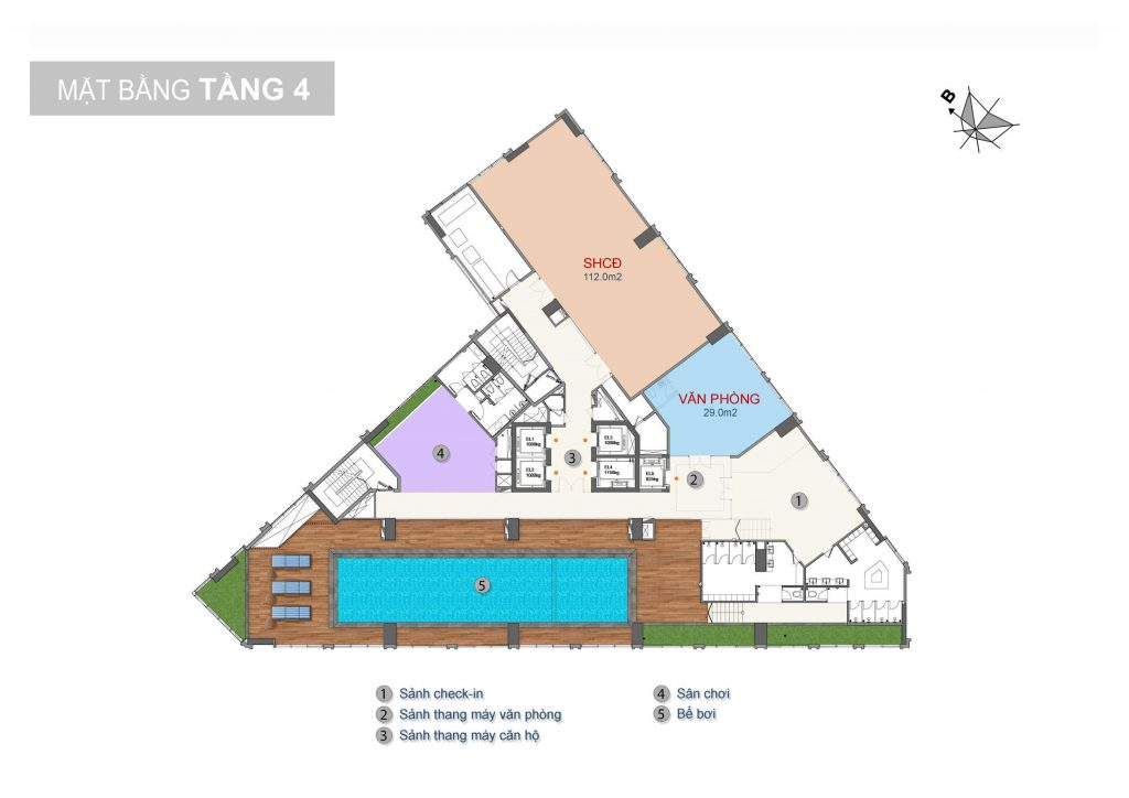 mặt bằng tầng 4 chung cư trinity tower 145 hồ mễ trì