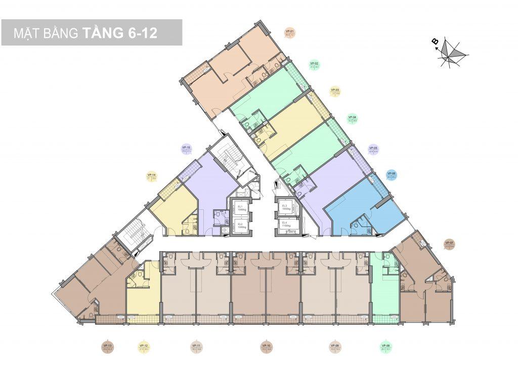 mặt bằng tầng 5-12 chung cư trinity tower 145 hồ mễ trì