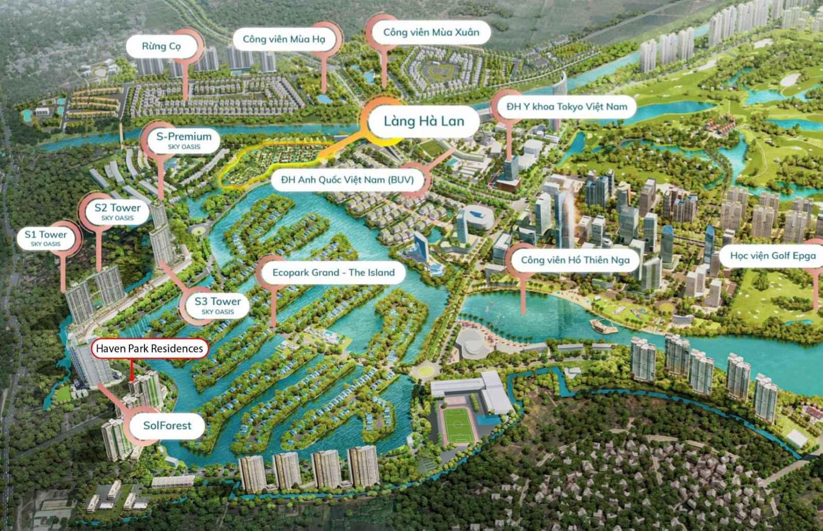 vị trí dự án haven park residences ecopark