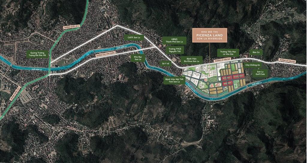 vị trí dự án picenza riverside sơn la