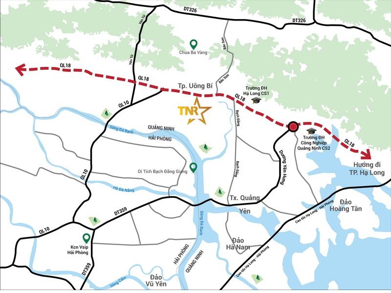 vị trí dự án tnr grand palace river park uông bí