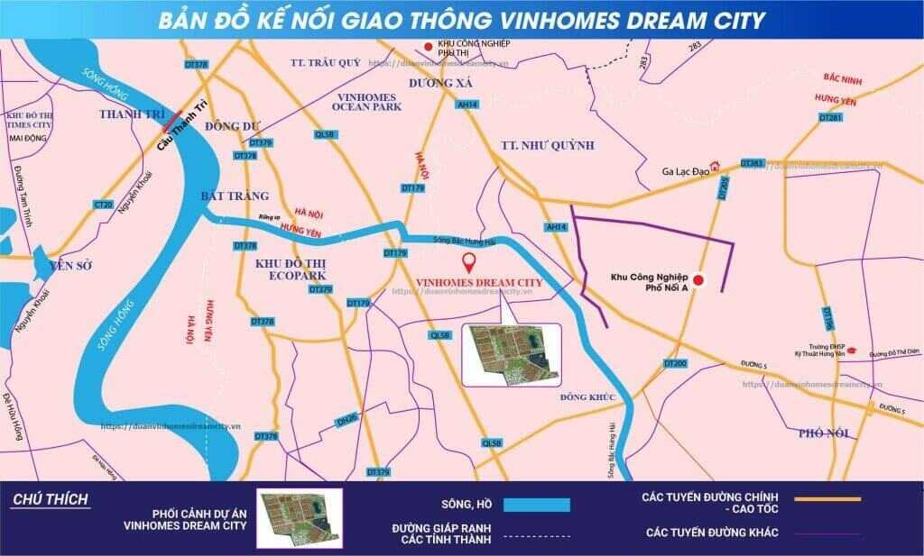 liên kết vùng dự án vinhomes dream city văn giang hưng yên
