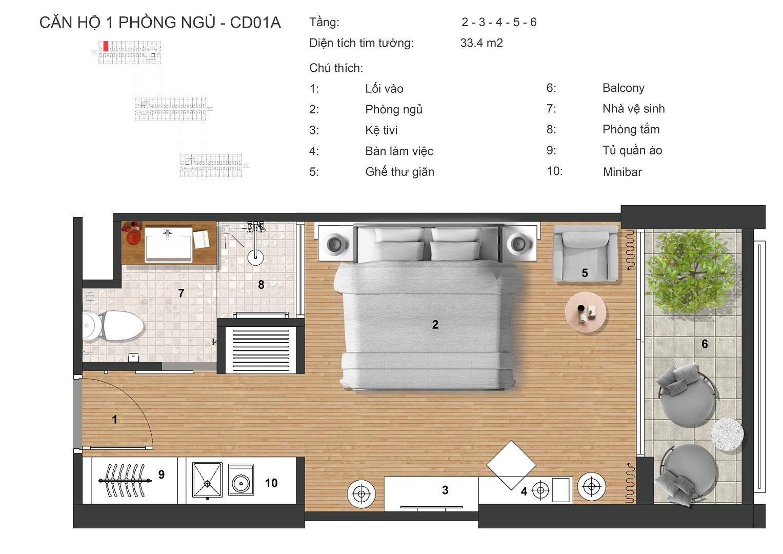 thiết kế căn hộ bowmore apartel