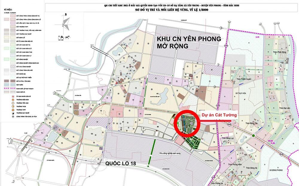 vị trí dự án cát tường smart city yên phong bắc ninh
