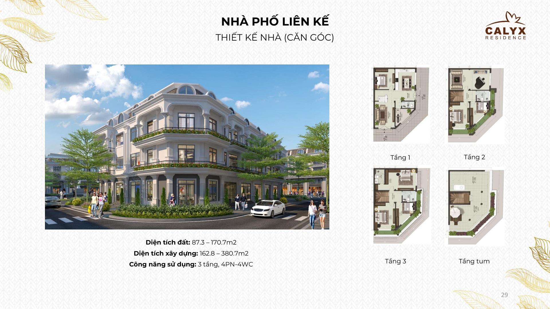 thiết kế shophouse calyx residence 319 uy nỗ đông anh căn góc