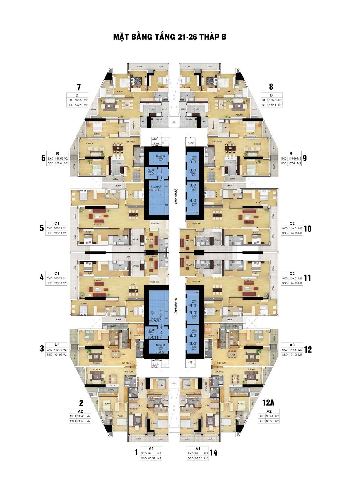 mặt bằng tầng 21-26 dự án discovery skyline 302 cầu giấy
