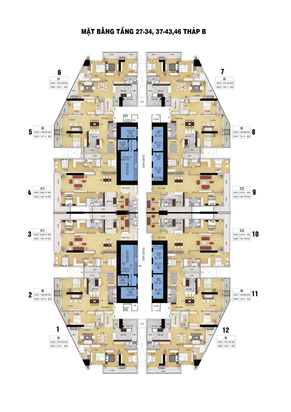 mặt bằng tầng 27-46 dự án discovery skyline 302 cầu giấy
