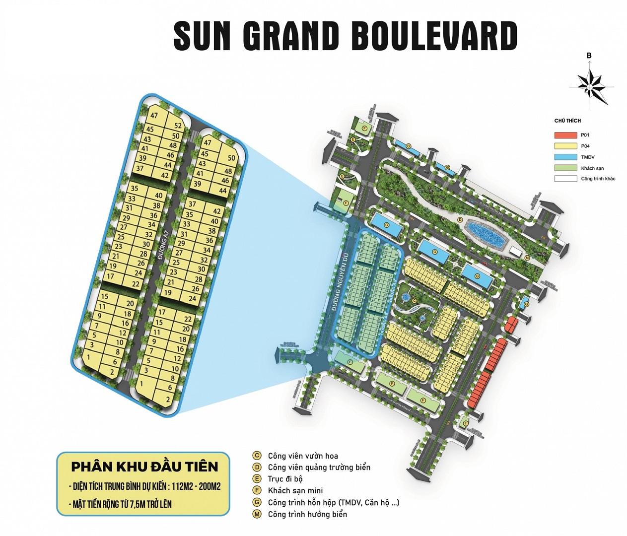 mặt bằng dự án sun grand boulevard sầm sơn