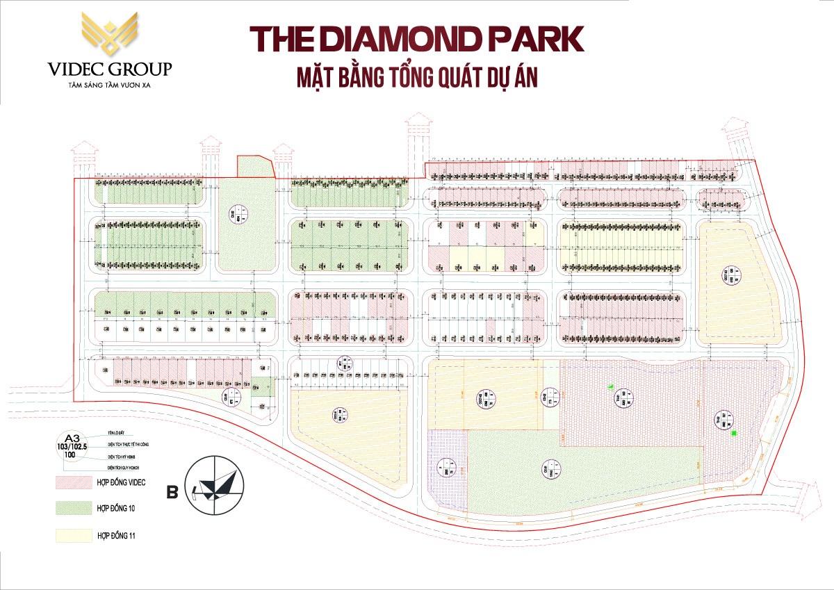 mặt bằng dự án the diamond park mê linh