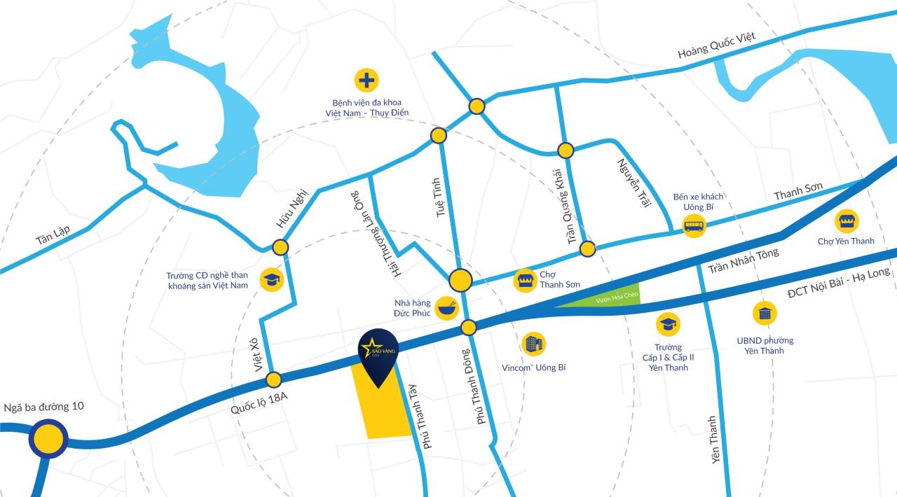 vị trí dự án midtown one uông bí