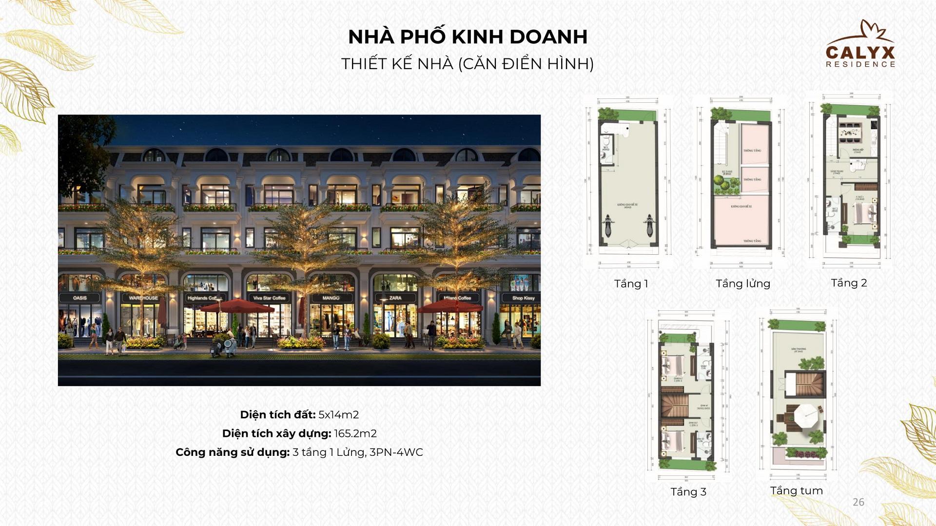 thiết kế shophouse calyx residence 319 uy nỗ đông anh