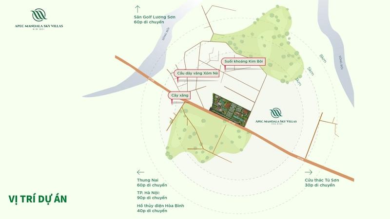 vị trí dự án apec mandala sky villas kim bôi hòa bình