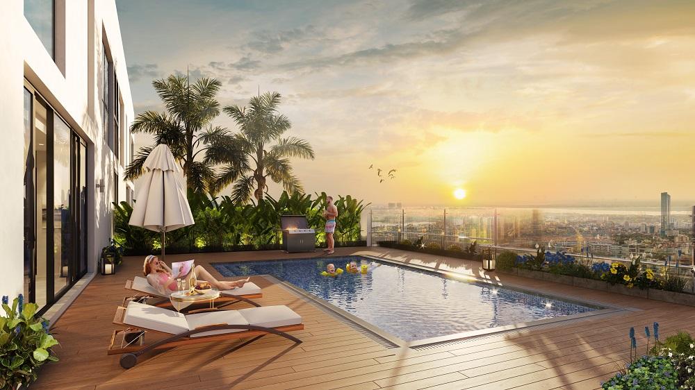 bể bơi căn hộ penthouse discovery skyline 302 cầu giấy