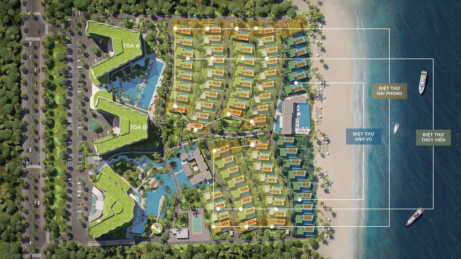 mặt bằng dự án biệt thự shantira legasea villas hội an