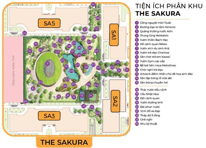 tiện ích phân khu the sakura