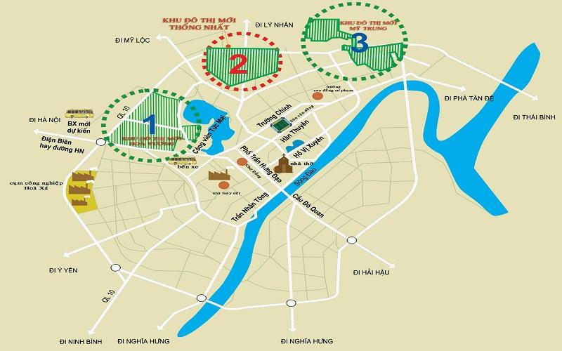 vị trí dự án khu đô thị mỹ trung nam định