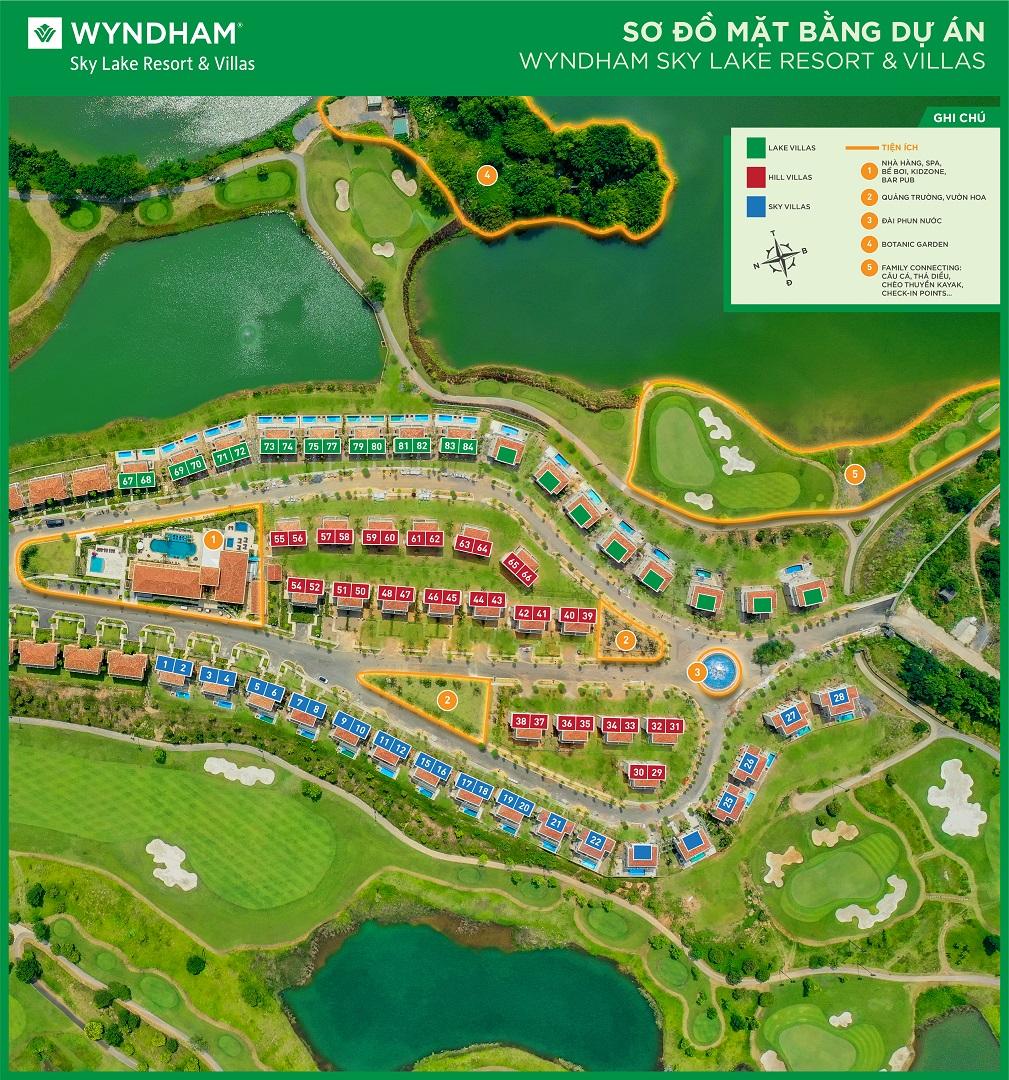 mặt bằng dự án wyndham sky lake resort villas chương mỹ