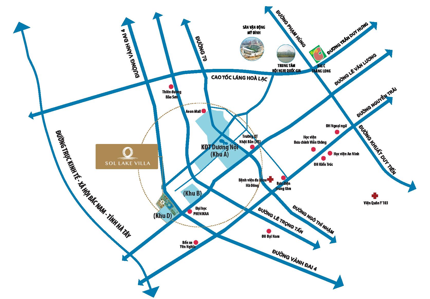 vị trí dự án sol lake villa đô nghĩa dương nội