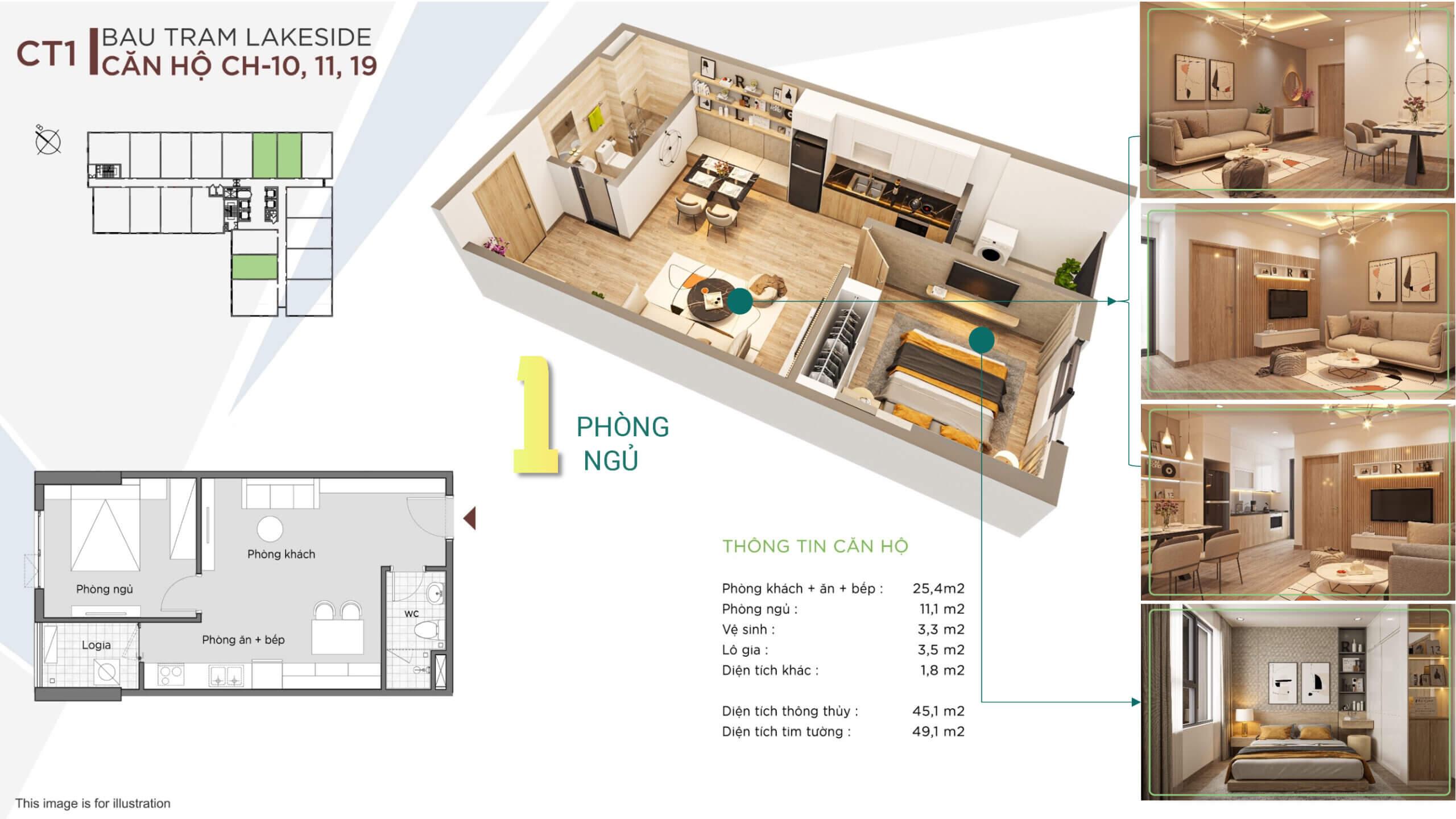 thiết kế căn hộ 1 ngủ the ori garden đà nẵng
