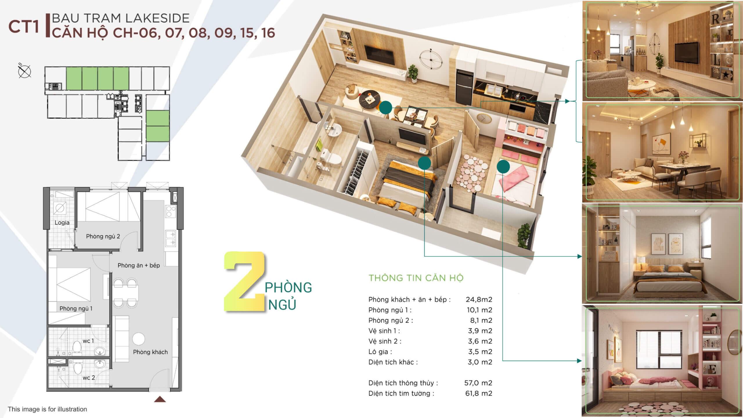 thiết kế căn hộ 2 ngủ the ori garden đà nẵng