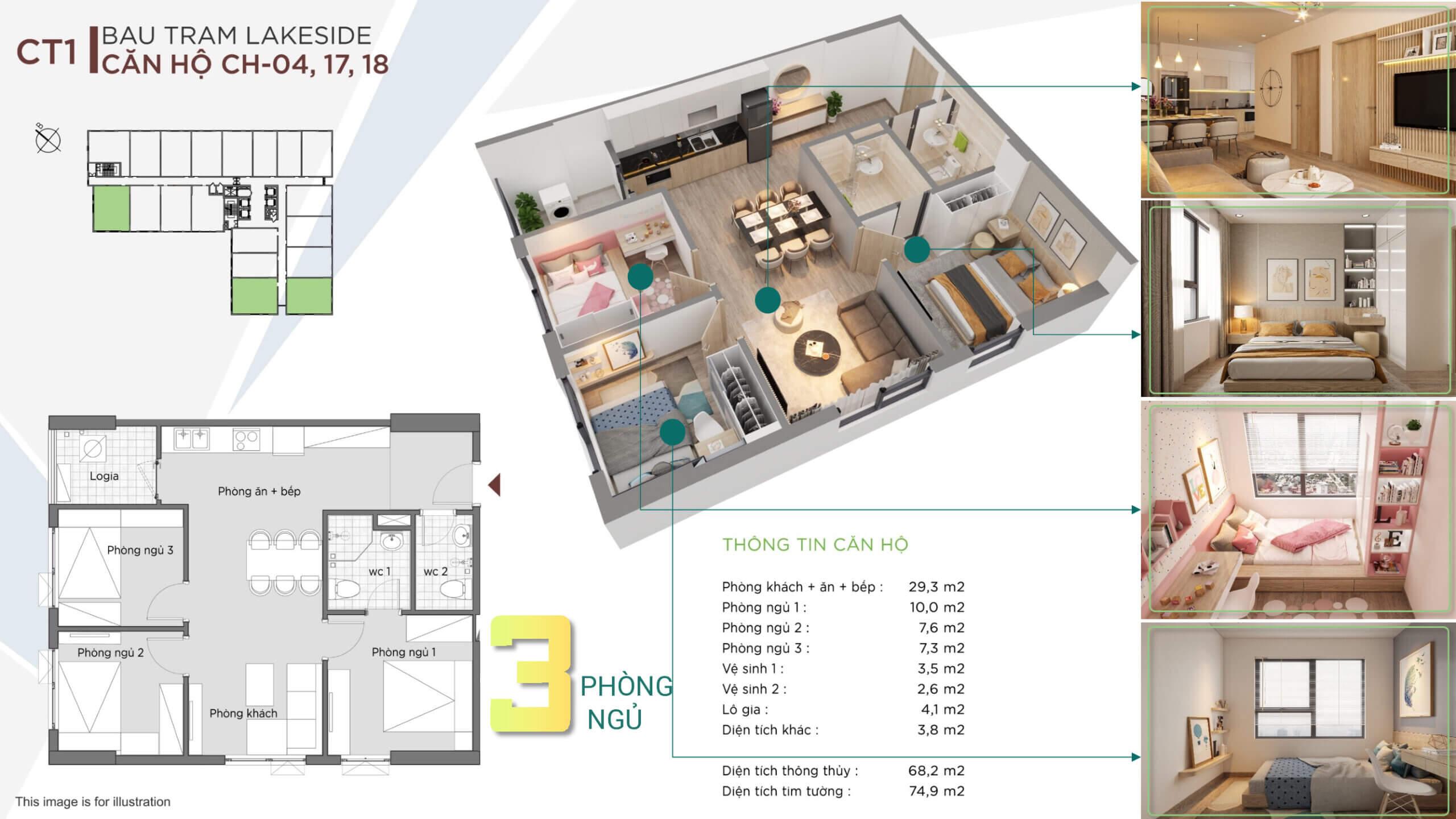 thiết kế căn hộ 3 ngủ the ori garden đà nẵng
