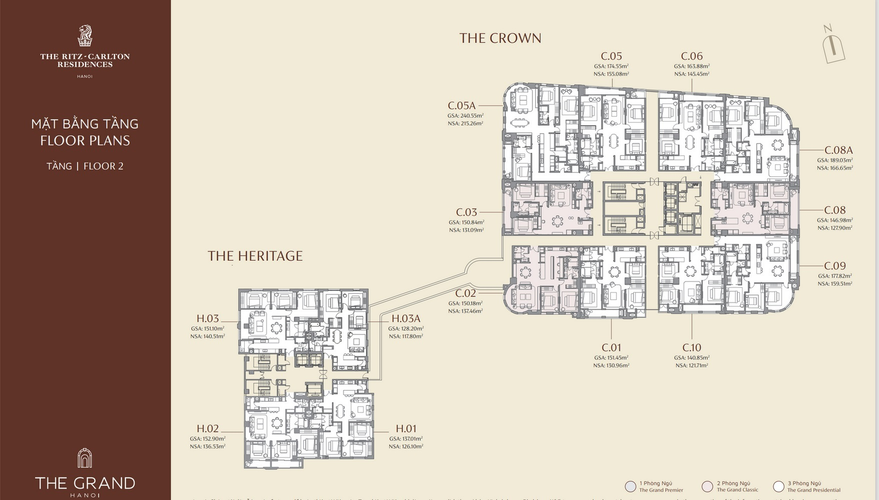 mặt bằng tầng 2 dự án the grand hà nội
