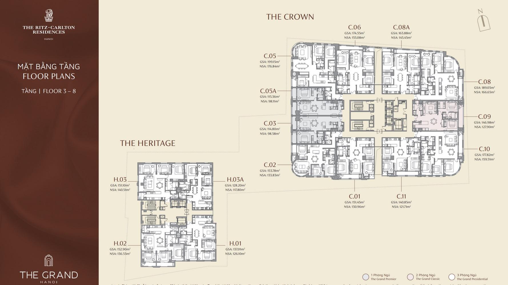 mặt bằng tầng 3-8 dự án the grand hà nội