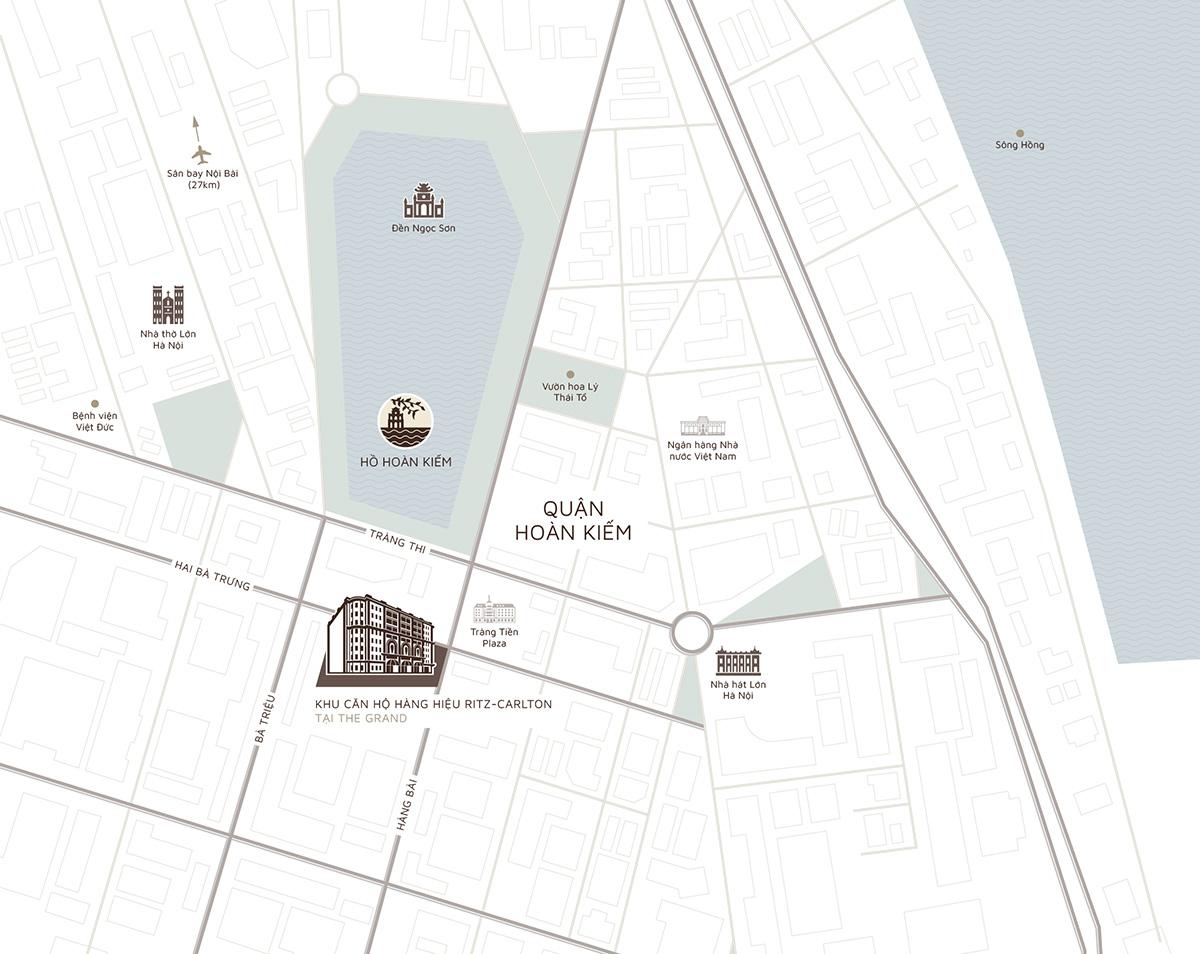 vị trí dự án the grand hà nội 22-24 hàng bài