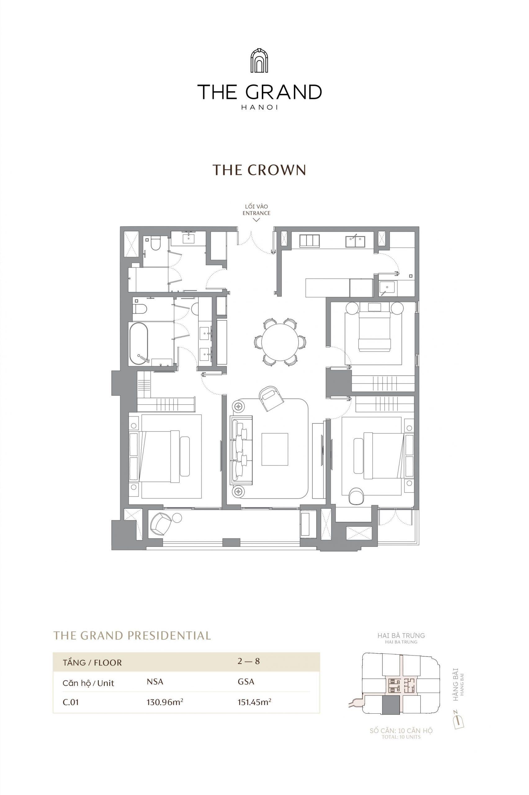 thiết kế căn hộ the crown 1