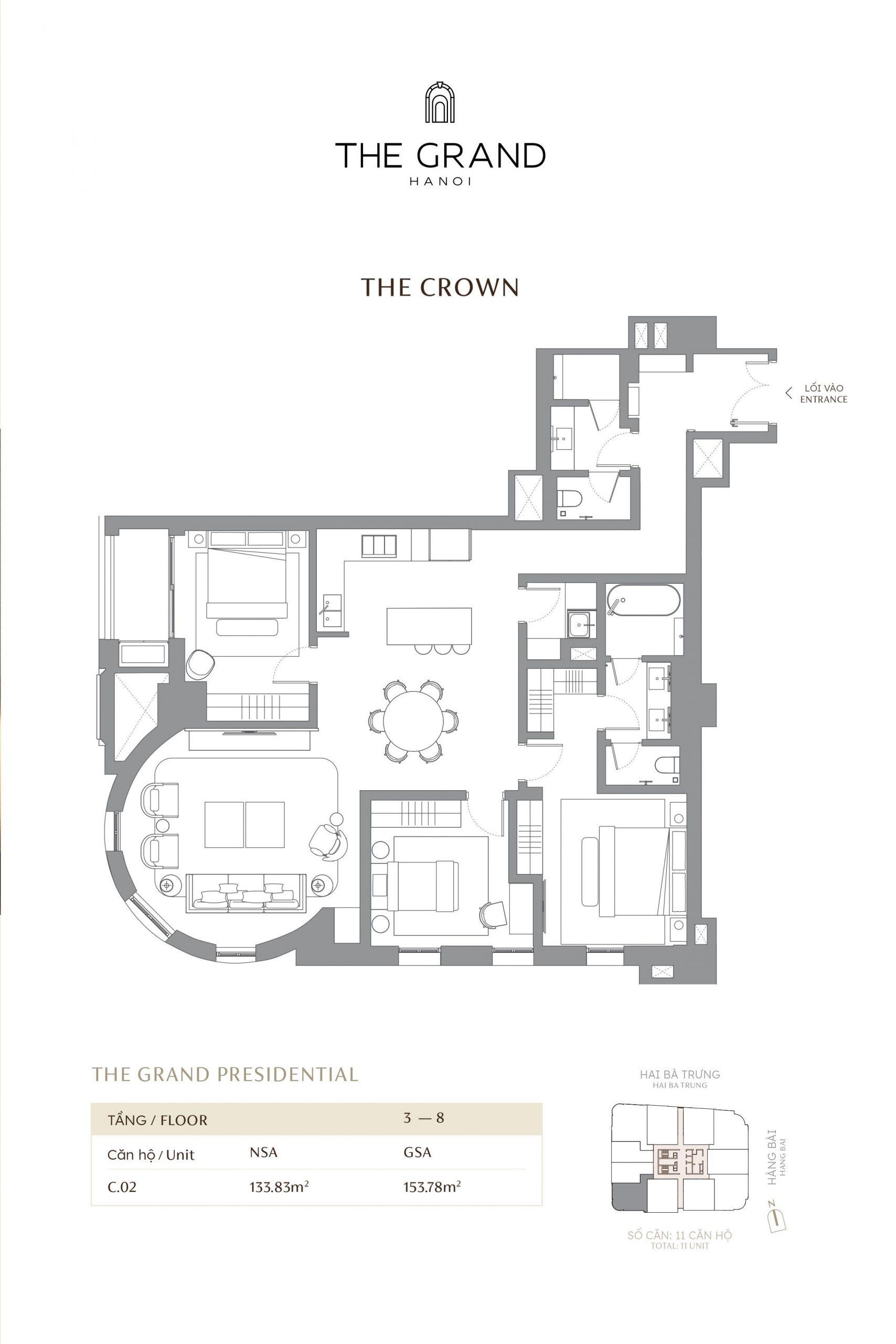 thiết kế căn hộ the crown 14