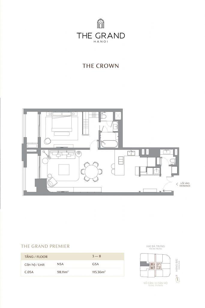 thiết kế căn hộ the crown 7