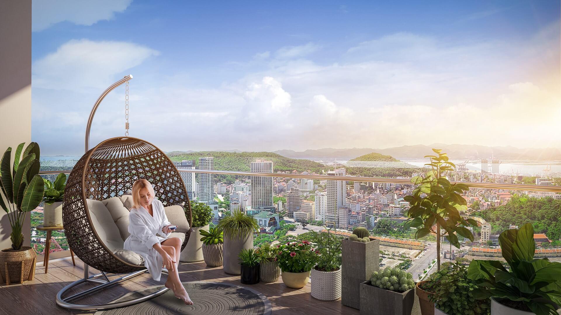 ban công dự án the platinum sun marina town hạ long