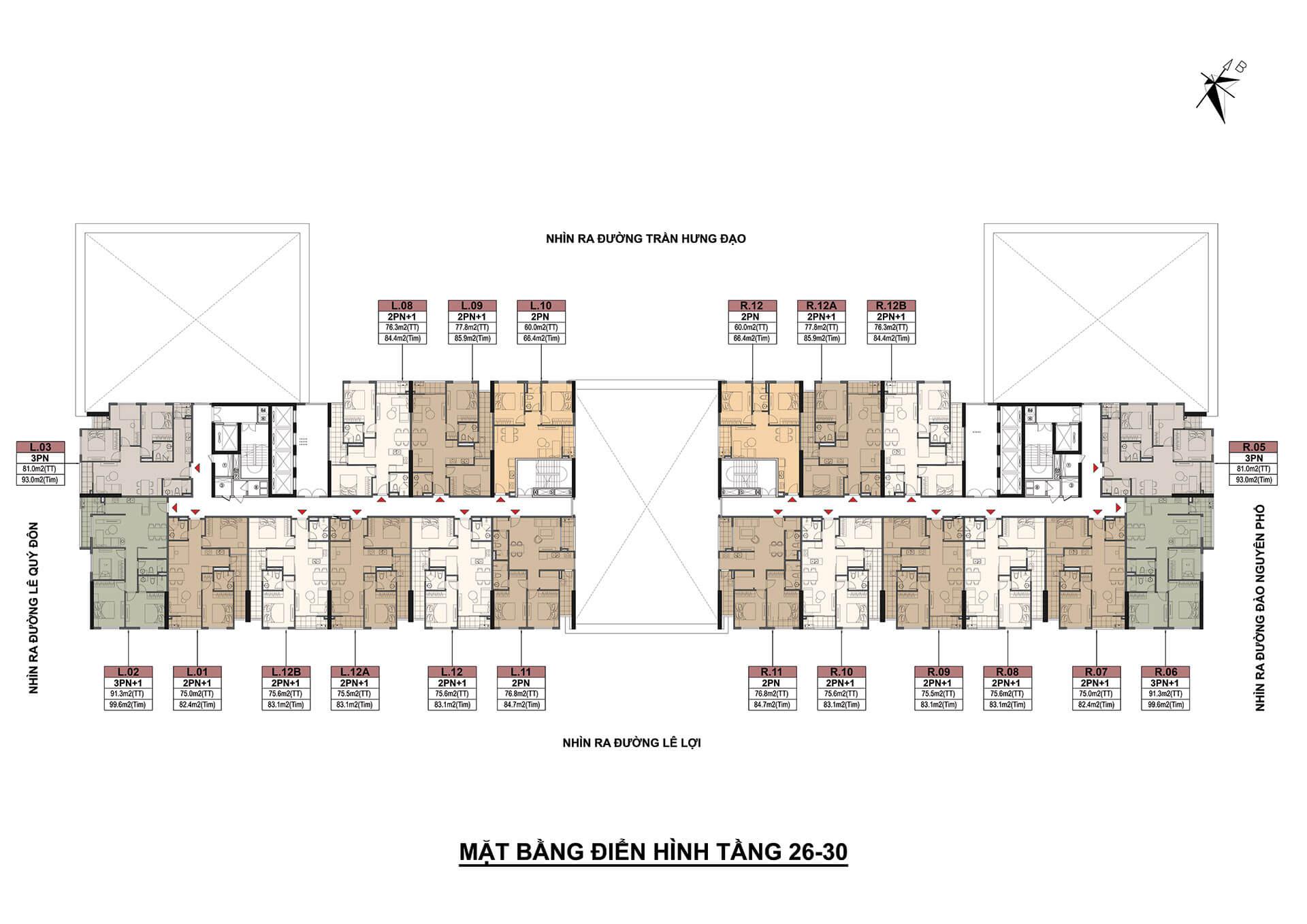 mặt bằng tầng 26-30 dự án eden garden thái bình