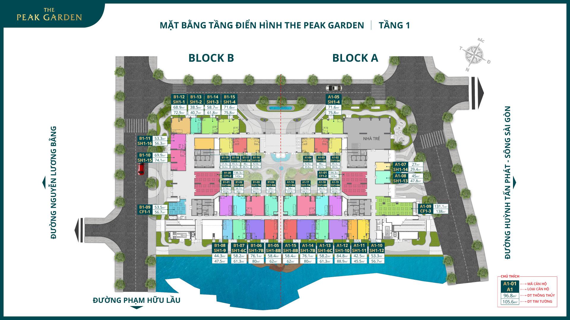 mặt bằng tầng 1 dự án the peak garden quận 7