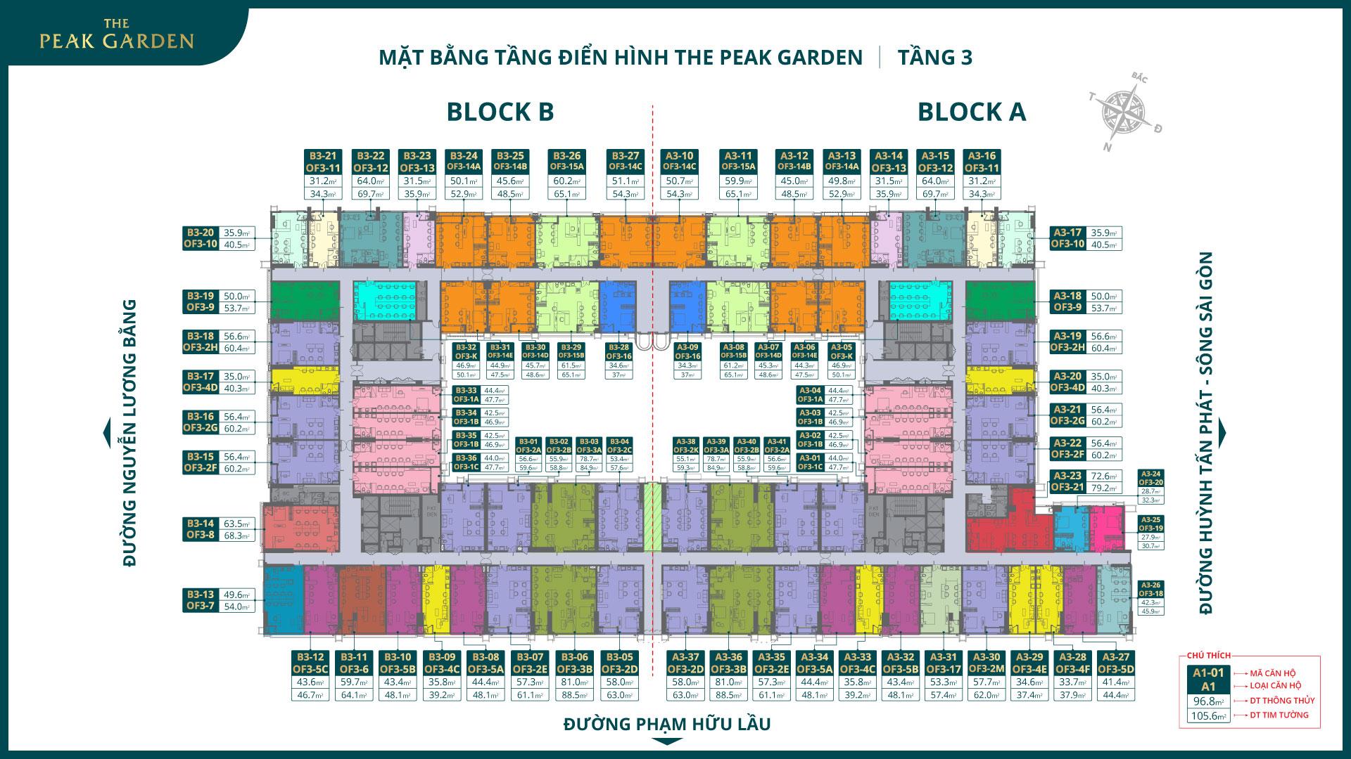 mặt bằng tầng 3 dự án the peak garden quận 7