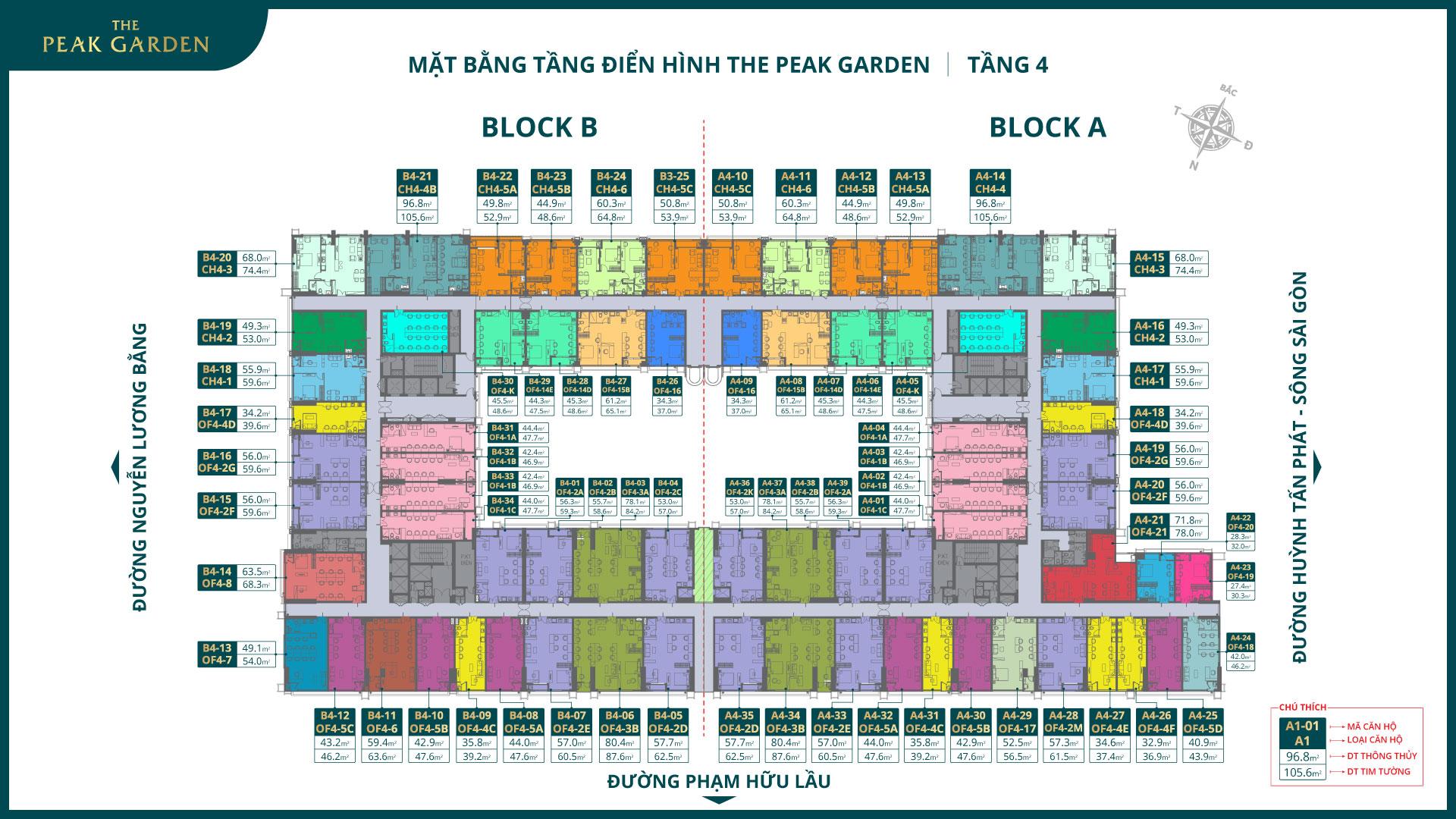 mặt bằng tầng 4 dự án the peak garden quận 7