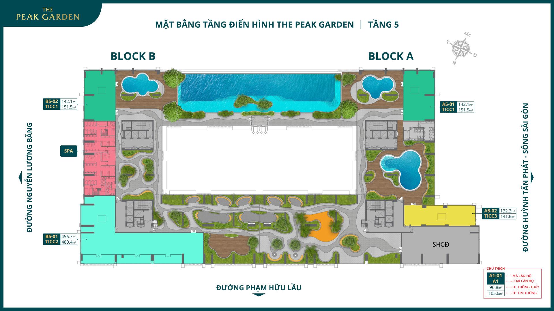 mặt bằng tầng 5 dự án the peak garden quận 7