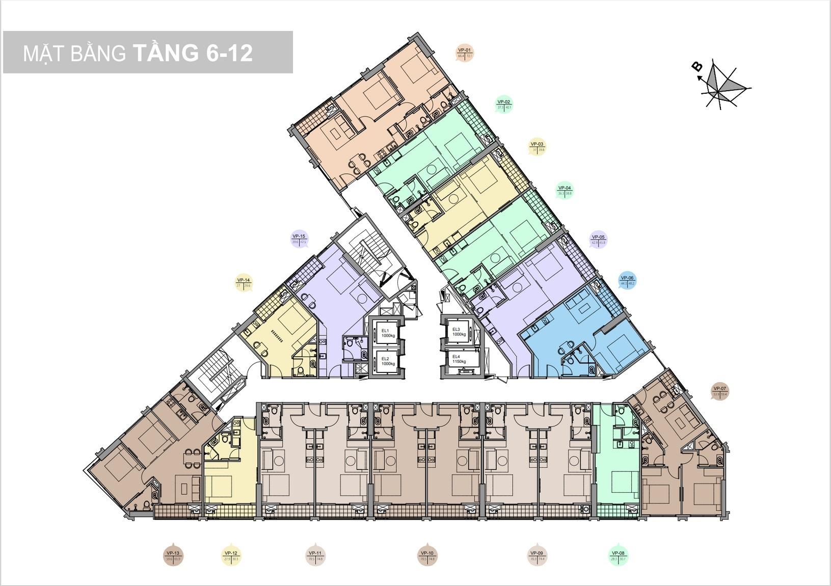 mặt bằng tầng 6-12 chung cư trinity tower 145 hồ mễ trì
