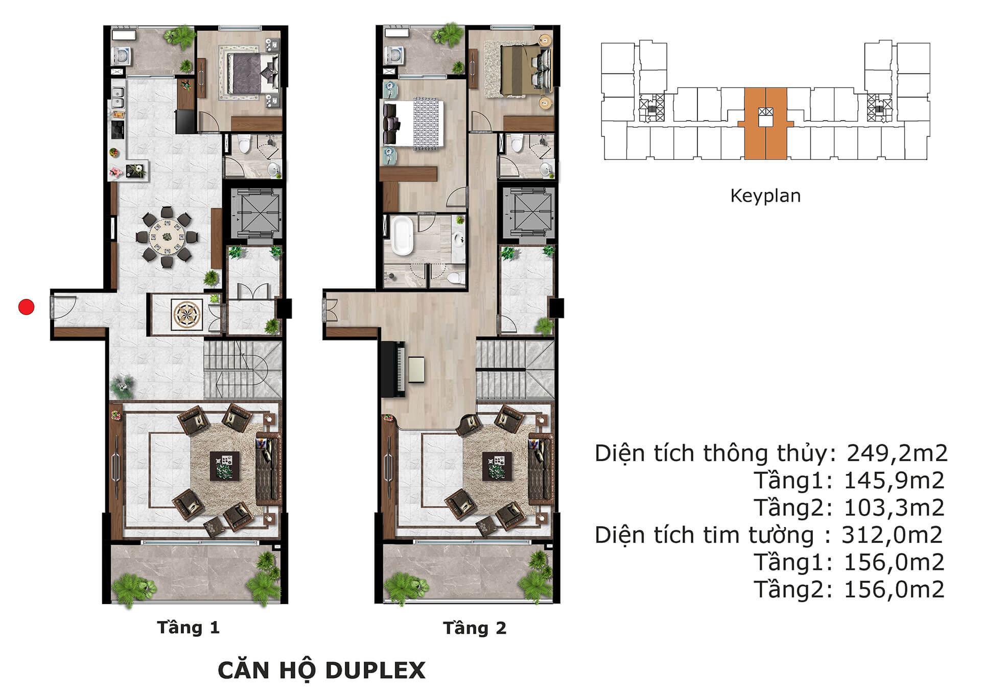 thiết kế căn hộ duplex dự án eden garden thái bình