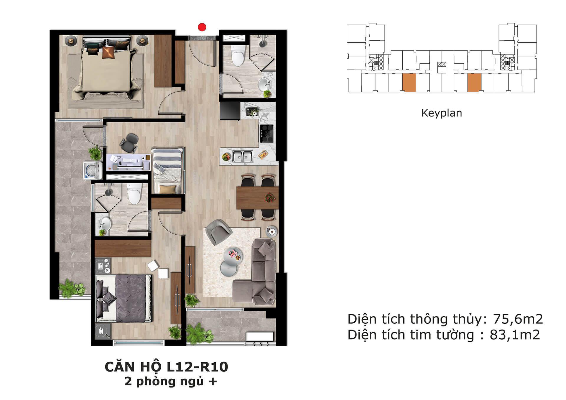 thiết kế căn hộ l12 dự án eden garden thái bình