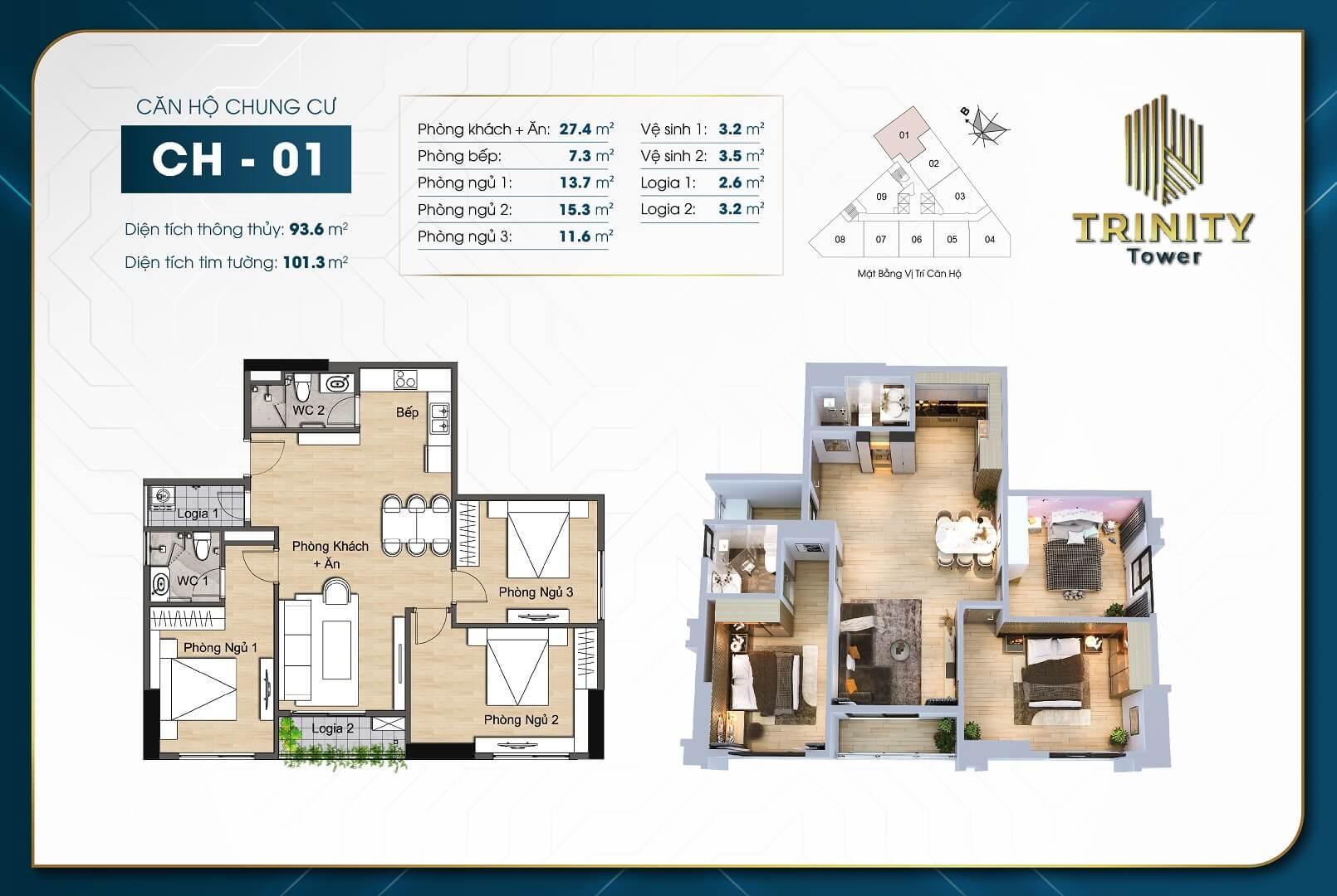 thiết kế chung cư trinity tower căn hộ 01