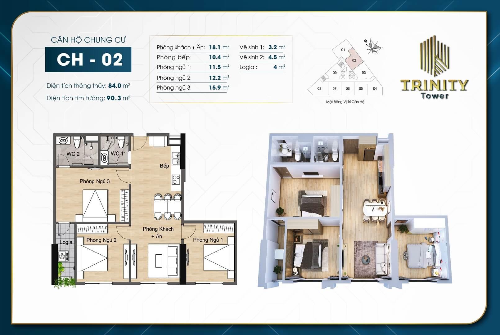 thiết kế chung cư trinity tower căn hộ 02